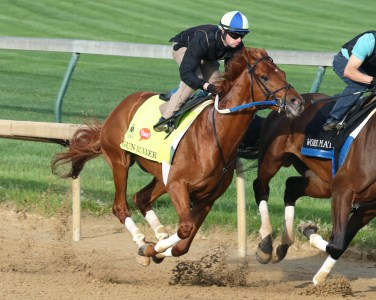 Gun Runner breezing at Churchill Downs on April 25th - Coady Photography