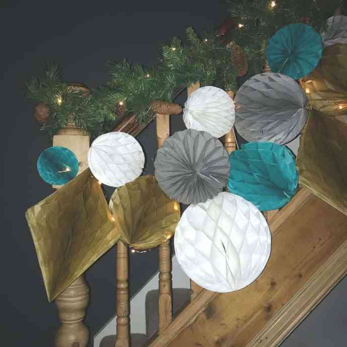 Alternative Christmas Decor | Decorating a Staircase with Honeycomb Balls