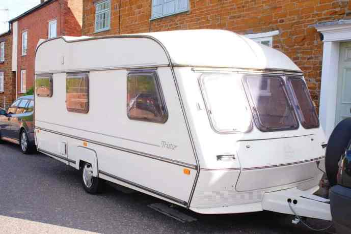 Tips for decorating a caravan and Painting a caravan exterior. This pic shows Dolly The Caravan before her makeover. ABI Tristar.