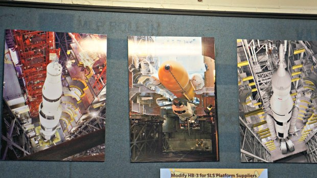 Pictures of the Saturn V in the Vehicle Assembly Building