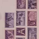 typed letter envelope with vintage stamps