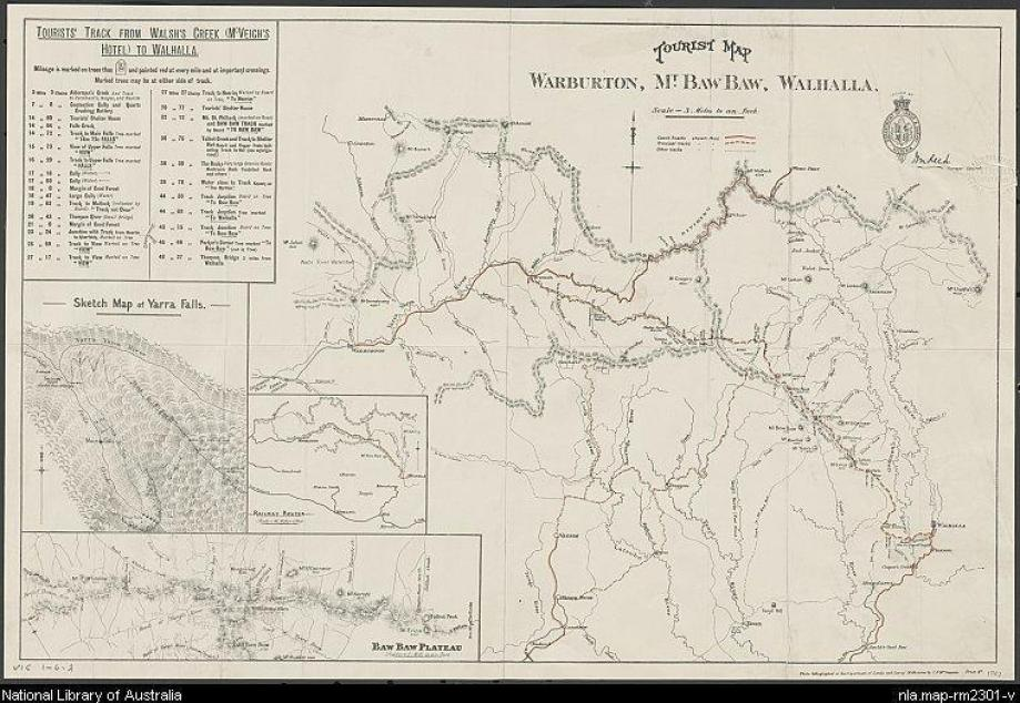 USEFUL LINKS/DOCUMENTS: The Baw Baws A Short History W.F. Waters 1907 Map & Track Insrtuctions: http://nla.gov.au/nla.map-rm2301