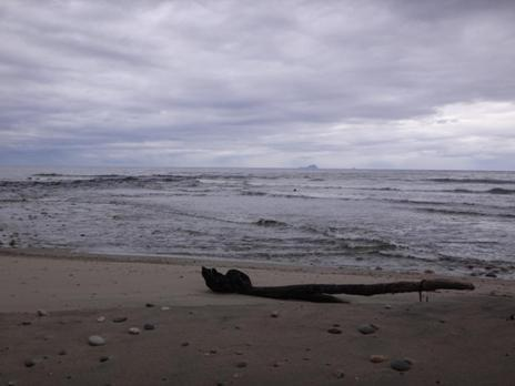 Waitutu River: View out to sea: the Solander Islands.