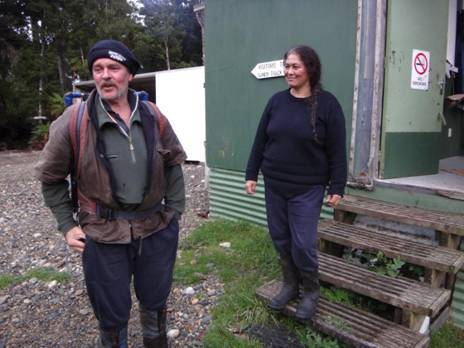 Farewell: Waitutu Lodge caretakers Pete and Rose Baldwin. Great hosts.