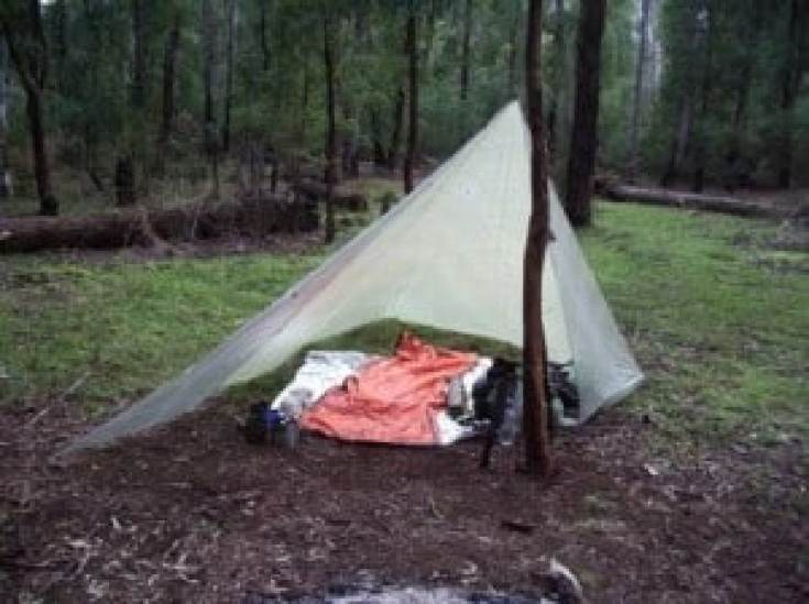 8' x 8' cuben tarp with wings can be pitched as a 'fire' shelter (as shown) or used as a hammock tarp (one end closed as storm shelter) 200 grams Hernes Spur Wonnangatta River 2011-11-18.