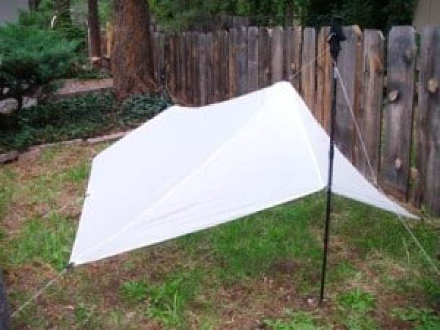 The finished 6.3 ounce tarp, with protected ends and catenary ridgeline.