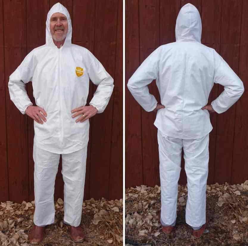 """The finished Tyvek hooded rain jacket is extra long and weighs just 5.25 ounces. The chaps weigh 2.6 ounces. You may get some comments about the white color (like """"where did you park your space ship?""""), but it is actually quite functional because it stays cooler compared to a dark color."""