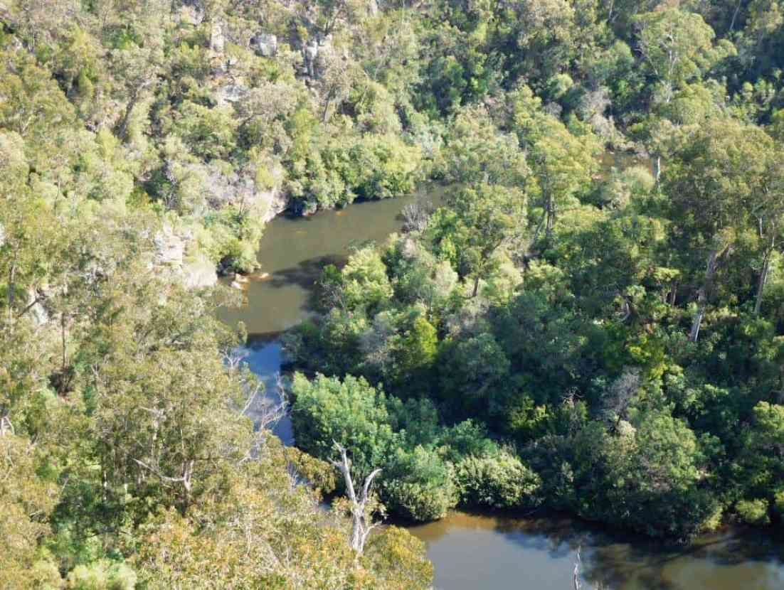 The Wirilda Track is down there on the other side of the river; some good swimming holes.