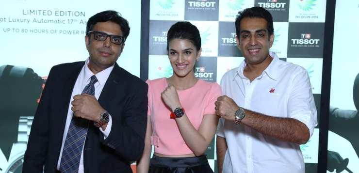 Brand Manager Tissot India, Manoj Subramanian, Actor Kriti Sanon and Manavjit Singh Sandhu