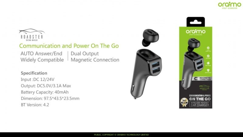 Oraimo Roadster OCM-BH10 2-in-1 wireless headset plus Car Charger launched for INR 1,199 - The Unbiased Blog