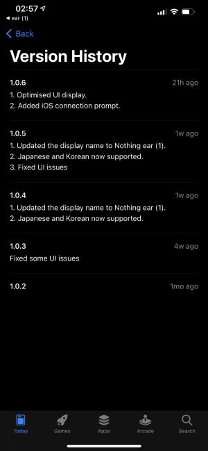 Nothing ear (1) app updates