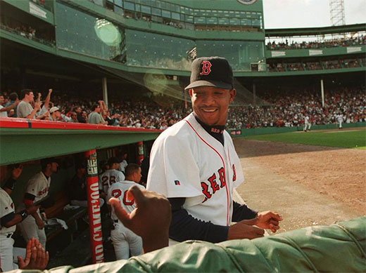Pedro shares a smile before the 1999 All-Star Game.