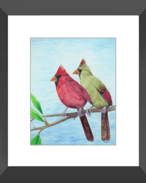 Cardinal Couple Framed Print of Watercolor Pencil Avian Totem Animal Fine Art