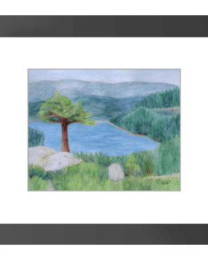 Lake Tahoe June 2008 Framed Print of Watercolor Pencil Scenic Landscape Fine Art