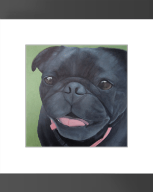 Maya  – Framed Print of Black Pug Dog Acrylic Paint Fine Art