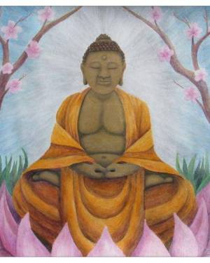 Card - Buddha - 5x5 Folded Greeting Card Of Acrylic Paint And Watercolor Pencil Fine Art