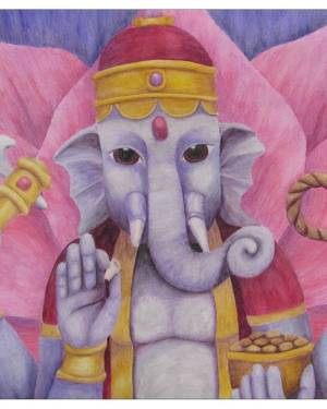 Card - Ganesh - 5x5 Inch Folded Greeting Cards Of Watercolor Pencil Fine Art