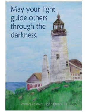 Card - Pemaquid Point Lighthouse - Folded Greeting Cards Of Watercolor Pencil Scenic Fine Art With Inspirational Words