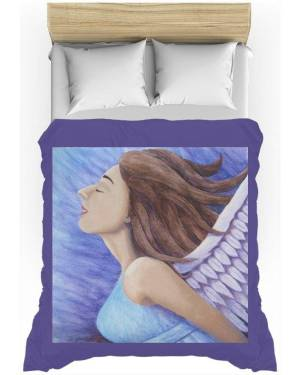 Duvet Cover - Air Goddess Flying - Duvet Cover Of Angel Acrylic Paint Anf Watercolor Pencil Fine Art