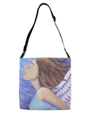 Fine Art, Prints, And Products - Air Goddess Flying - Angel Elemental Watercolor Pencil Original Art And Printed Products
