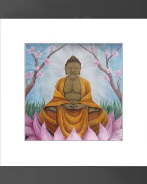Framed Print - Buddha - Framed Print Of Acrylic Paint And Watercolor Pencil Fine Art