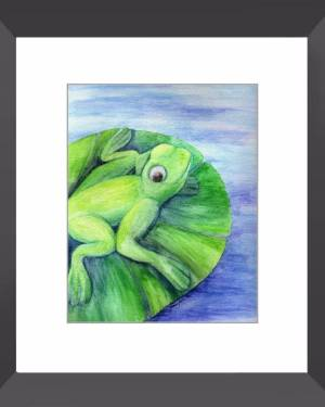 Framed Print - Cleanse Replenish Adapt - Framed Print Of Watercolor Pencil Frog Fine Art