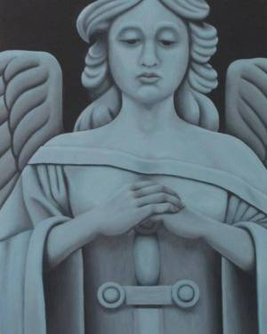 Poster - Guardian Angel At Work - Poster Of Monochrome Acrylic Paint Fine Art