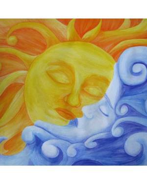 ProPrint - Connection - Sun And Moon Professional Prints Of Watercolor Pencil Fine Art