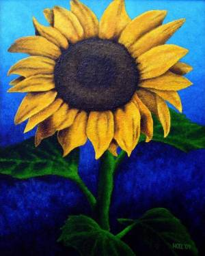 ProPrint - Face The Sun - Sunflower Professional Print Of Acrylic Painting Fine Art