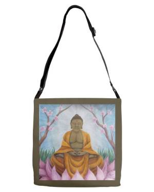 Tote - Buddha - Adjustable Strap Tote Of Acrylic Paint And Watercolor Pencil Fine Art