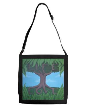 Tote - Love Is The Root Of Life - Adjustable Strap Tote Of Acrylic Paint Fine Art