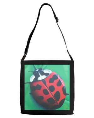 Tote - Lunching Lady Bug - Adjustable Strap All Over Tote Of Acrylic Paint Fine Art