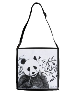 Tote - Panda - Adjustable Strap Tote Of Marker Fine Art Drawing
