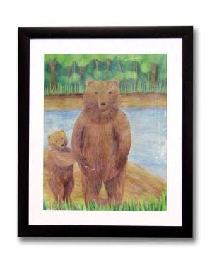 Totem Animal Art - Bears - Totem Animal Watercolor Pencil Original Art And Printed Products