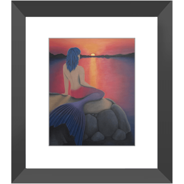 Mermaid Watching the Sunset Framed Prints of Acrylic Paint Fine Art
