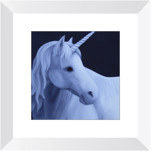 Unicorn in the Moonlight – Fantasy Framed Print of Acrylic Paint Fine Art