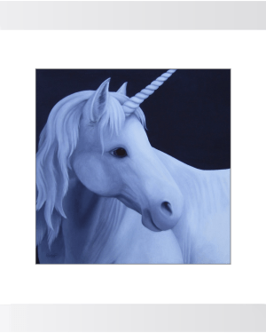 Unicorn in the Moonlight Framed Prints of Acrylic Paint Fine Art
