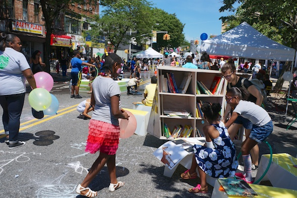 Uni reading room on the street in Brownsville Brooklyn