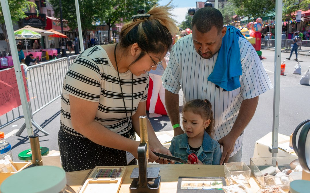 Pop-up reading room and science exhibit on 116th St, East Harlem