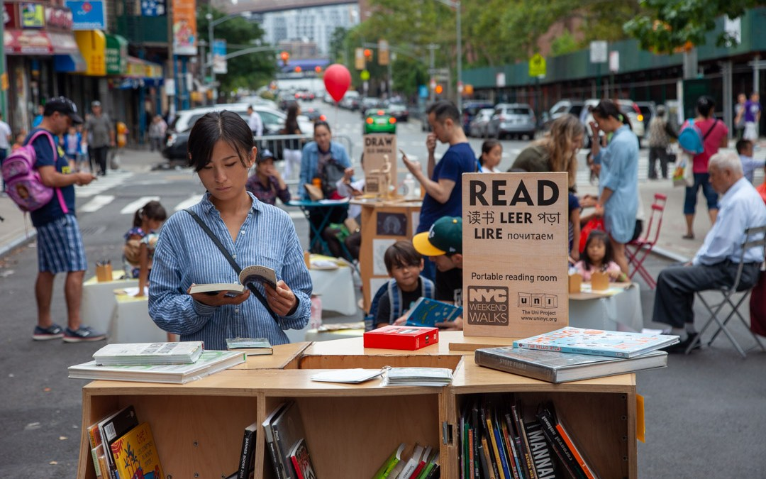 Three Uni Project programs on the street in Two Bridges: READ, DRAW, EXPLORE