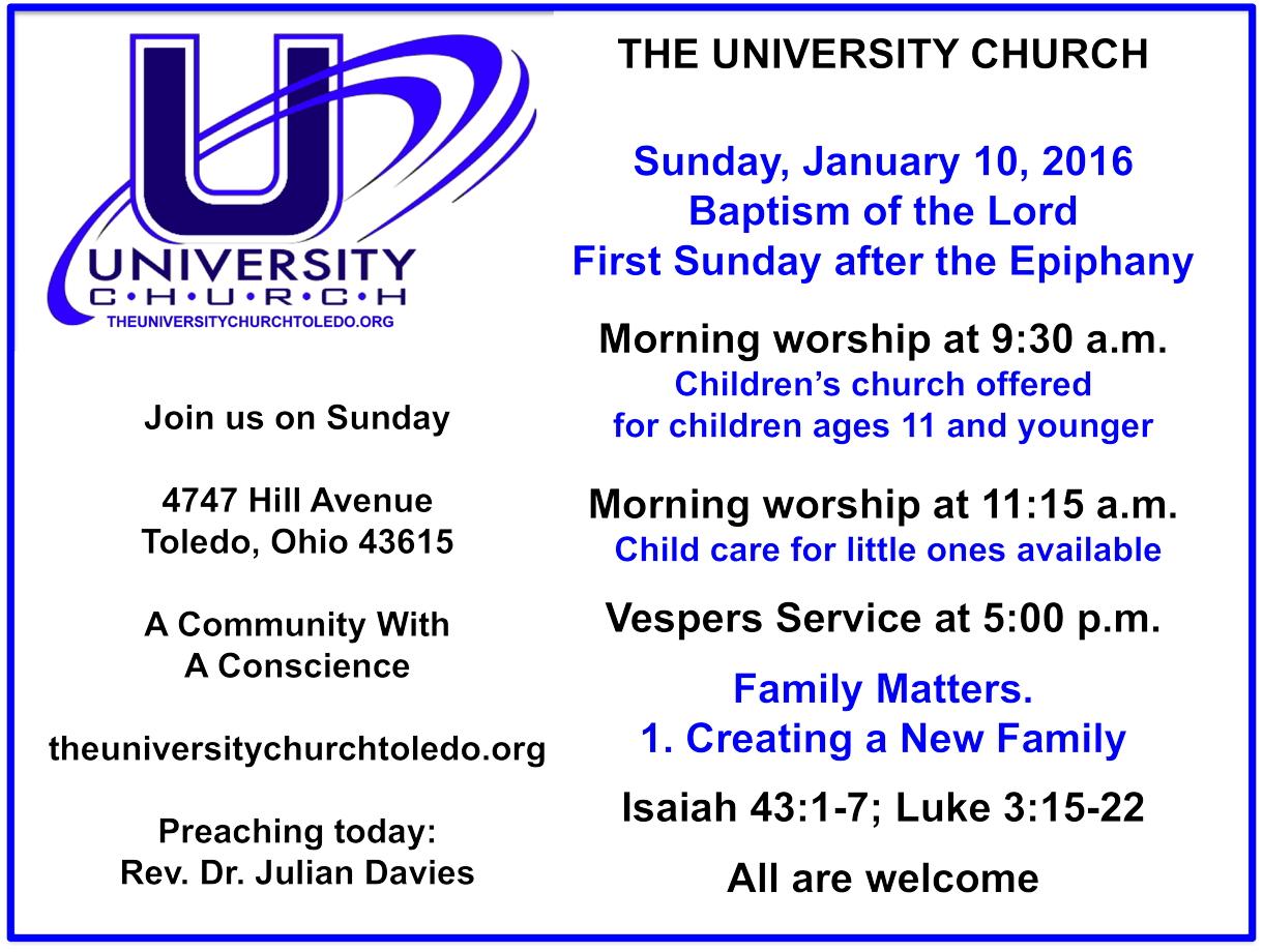 Sunday, January 10, 2016 at The University Church  – The