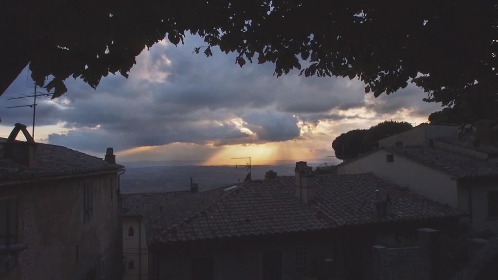 Cortona Over the rooftops to the plain of Valdichiana