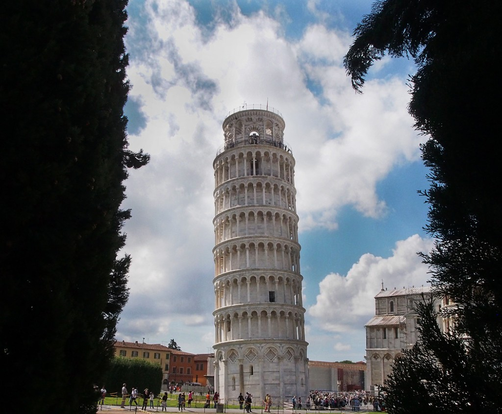 The Leaning Tower of Pisa Through nearby Trees