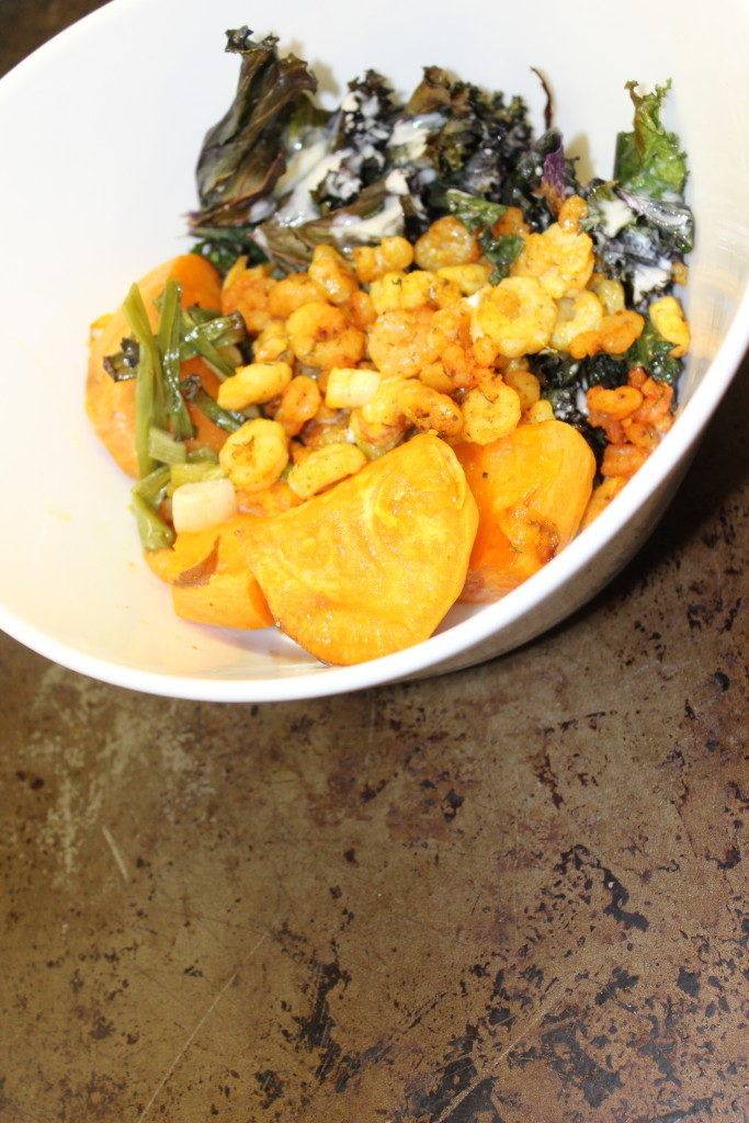 autoimmune protocol paleo whole 30 one pot pan meal dinner fast easy sweet potato kale coconut milk maple syrup green onions curry curried seafood