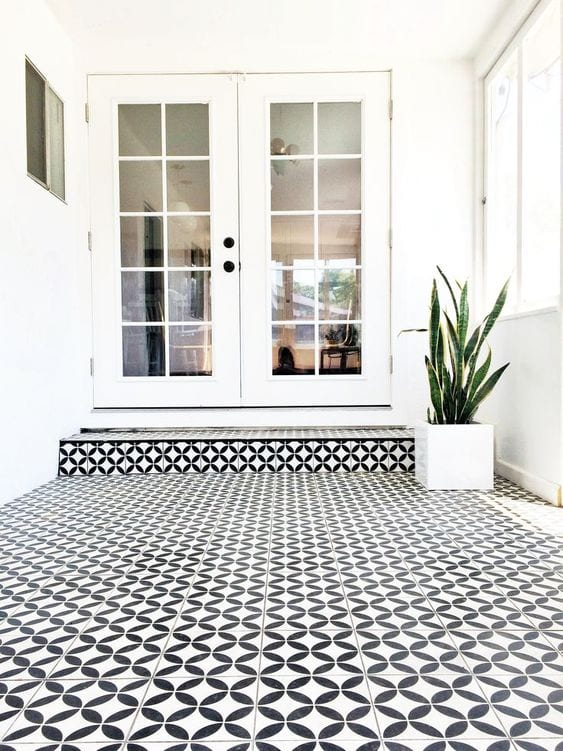 Black & white cement tile flooring ideas