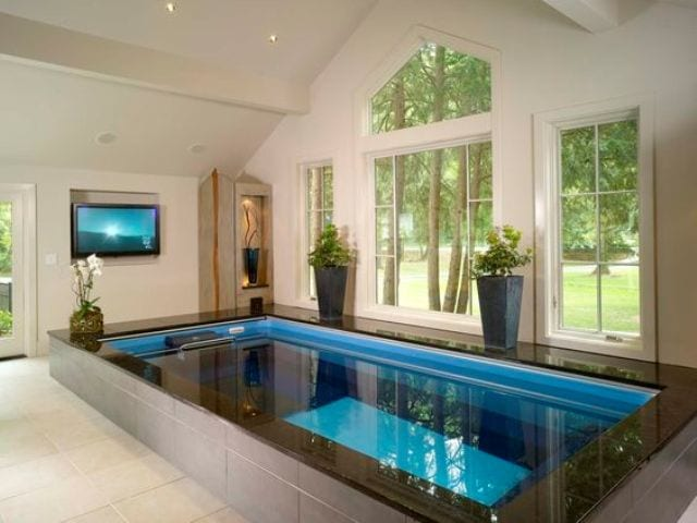 Endless indoor pool in a home spa design ideas