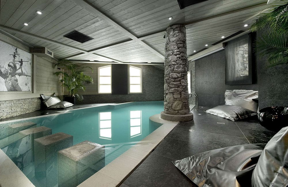 Lavish Stoned themed indoor swimming pool design ideas