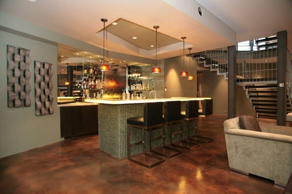 Modern basement home bar design