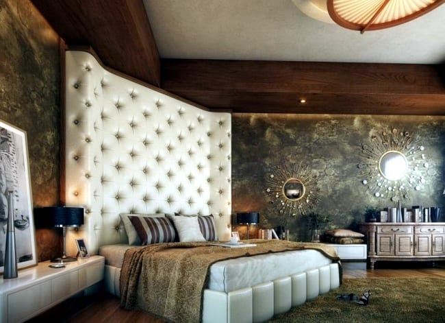 Bed with cushioned headboard bedroom ideas