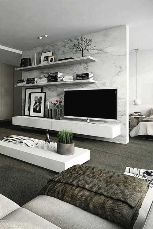 Black and white TV unit designs